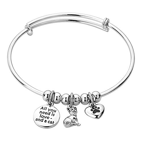 CandyCharms Pet Cat Puppy Kitten Heart Paw Animal Lover Charm Wire Bangle Bracelet Expandable