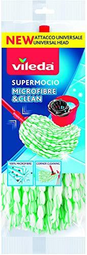 Vileda Supermocio Fiocco Microfibre&Clean, Mocio in Microfibra, Compatibile con Attacco Universale, Stringhe Attorcigliate, Fiocco Ricambio, 1 Pezzo