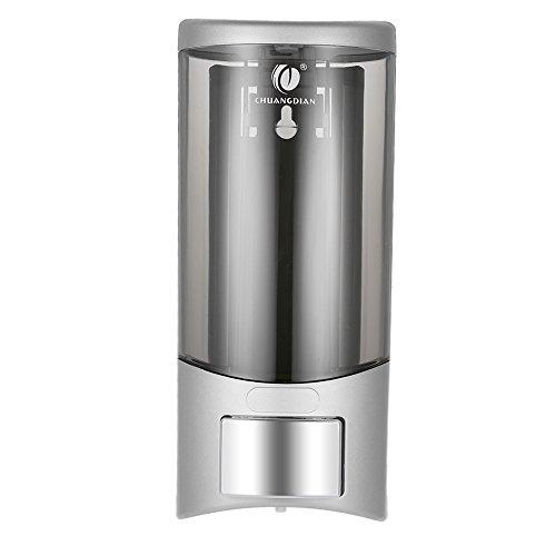 Galapara CHUANGDIAN 500 ml Dispensador de Jabón para Pared Fijación Manual de una única Botella de Champú Dispensador con Adhesivo, Plástico, Plata
