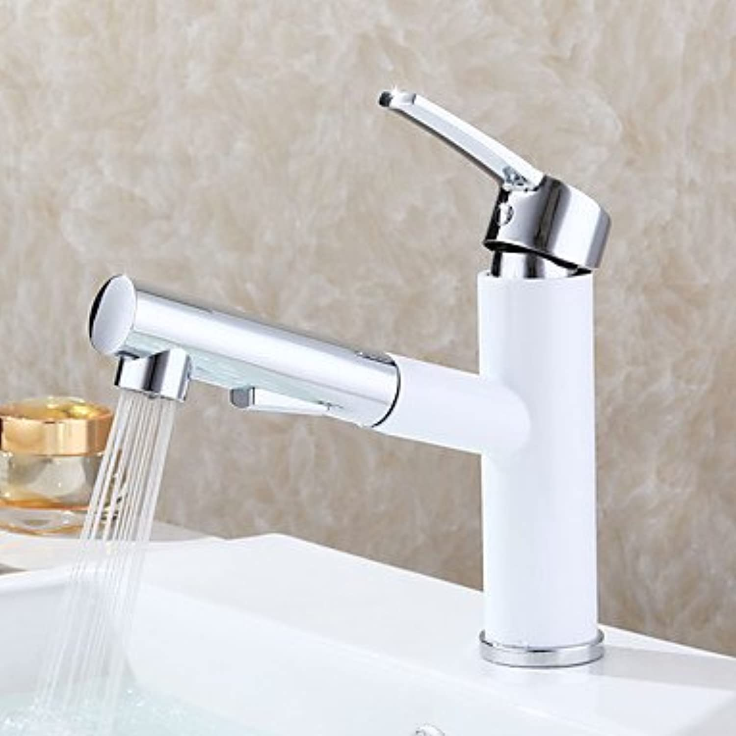 WYFC Round Centerset Pull out with Ceramic Valve Single Handle One Hole for Painting , Bathroom Sink Faucet