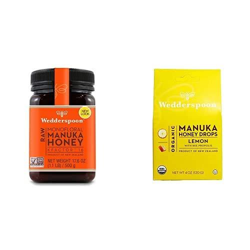 Wedderspoon Raw Premium Manuka Honey KFactor 16+ & Wedderspoon Organic Manuka Honey Drops, Lemon + Bee Propolis, Unpasteurized, Perfect Remedy For Dry Throats