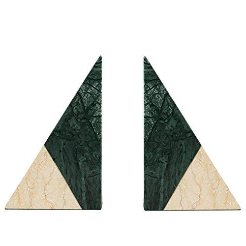 zyhss Buchstützen Für Regale Hochleistungs-Kreativhaus Marmor-Stil Buchstützen-Set Bücherregal Endet Buchstützen Für Regale Bibliothek Schulbüro Heimstudium, (Weiß + Grün)