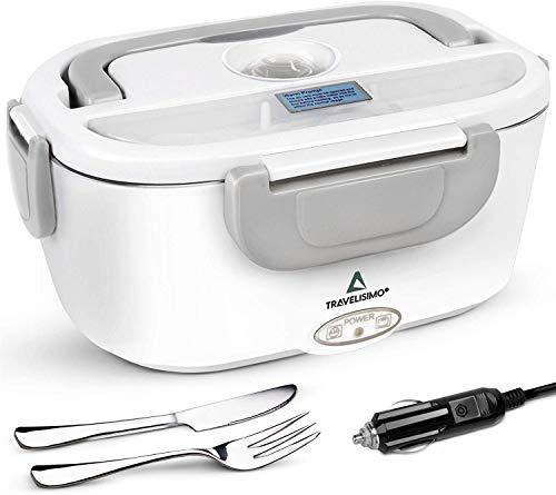 TRAVELISIMO Lunch Box Gamelle Chauffante Électrique pour Camion 24V, Chauffe en Quelques Minutes, Acier Inoxydable 1.5L 40W, Boîte Isotherme Repas Chaud