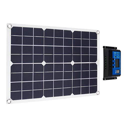 Hyy-yy Cargador de batería portátil de 50W Flexible, Solar Cargador de batería para automóviles, línea de clip de carga para motocicleta RV Barco con controlador de carga 10A