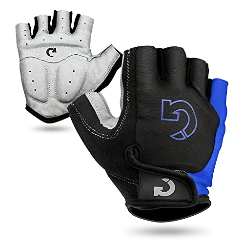 GEARONIC TM Cycling Bike Bicycle Motorcycle Glove Shockproof Foam Padded Outdoor Workout Sports Half Finger Short Gloves - Blue M