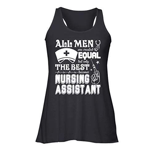 Brown Bee The Best Becomes Nursing Assistant Flowy Racerback Tank, Sleeveless Tshirt Black,XL