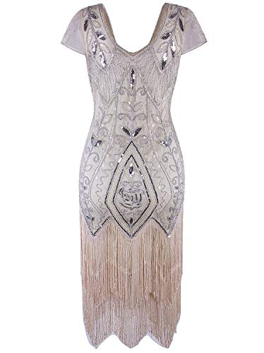Vijiv 1920s Gatsby Costume Flapper Dresses Tassel Sequin Cocktail Dress With Sleeves,Beige White,X-Large