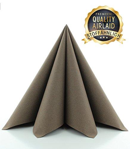 Prime Guest Servietten BRAUN | Premium Edition für Hochzeiten und Feiern Airlaid | stoffähnlich | 50er Packung | 50 Stück | 40 x 40 cm | ¼ Falz