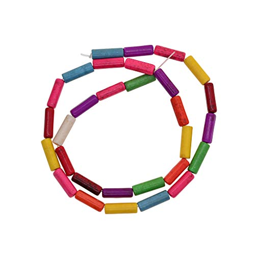 SDENSHI Lotes de Abalorios de Piedra Natural Teñidos para Pulsera, Collar, Fabricación de Joyas, Bricolaje - Multi, Cuentas de Tubo