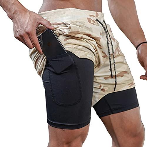 Gudcozi Uomo 2 in 1 Sport Ginnastica Shorts, Pantaloni di Yoga Corsa Palestra Alpinista Palestra Pantaloni Corta
