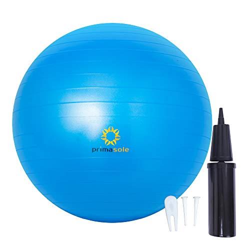 Primasole Gymnastikball (45 cm) für Yoga Pilates Fitness zu Hause und im Fitnessstudio Stabilitäts-Ball mit Pumpe, für Damen und Herren, Training für Rücken und Bauchmuskeln, Blau PSS91NH058A