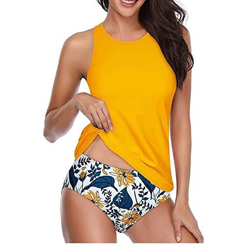 Routinfly Bikini para mujer con impresión conservadora y tirantes en la parte trasera, tankini de dos piezas, traje de baño para mujer, bikini sexy para la playa, traje de baño de gran pieza