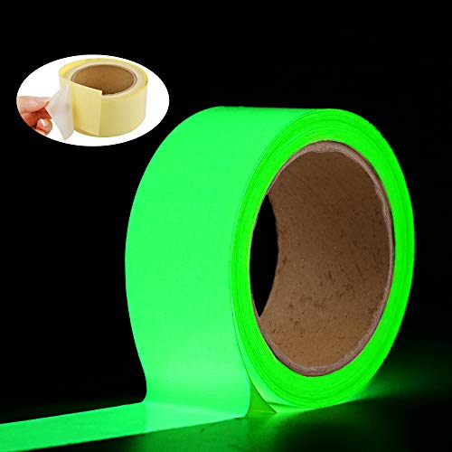 Glow in The Dark Tape Oumers 33 ft x 2 inch Green High Bright Luminous Tape Sticker Removeble Waterproof and Photoluminescent