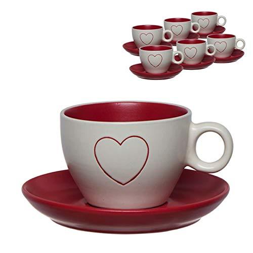 Vidal Regalos Juego Café Taza 220ML x6 Blanco Rojo Corazón San Valentín