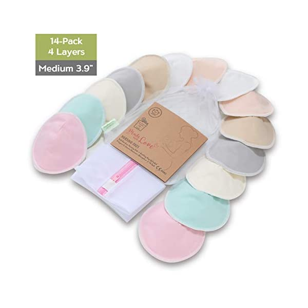 Organic Bamboo Nursing Breast Pads – 14 Washable Pads + Wash Bag – Breastfeeding Nipple Pad for Maternity – Reusable Nipplecovers for Breast Feeding