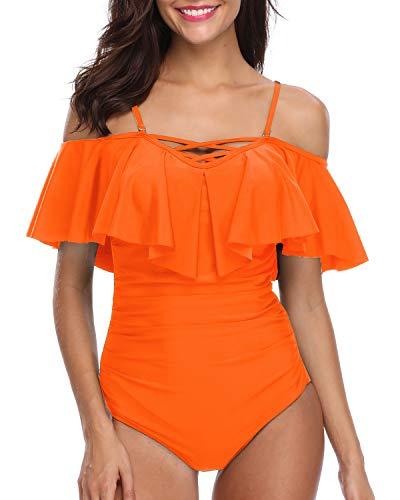 Holipick Women One Piece V Neck Off Shoulder Ruched Swimsuit Orange Rose XXL