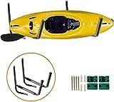 Soporte Kayak, Gancho Kayak pared Kayak Storage Rack Accesorios, Ganchos Garage Soporte de Tabla de Surf de Hierro Resistente Soporte Montado para Canoa de Snowboard, Carga 70kg / Negro / 2 Piezas