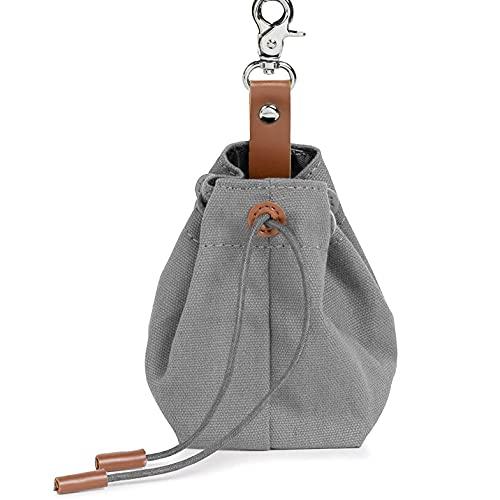 Foairs Leckerli-Beutel für Hunde, Futteraufbewahrung für Hundetraining, Schrumpftaschen Design mit Clip Schnalle,Hundeleckerli-Tasche für freihändiges, Grau