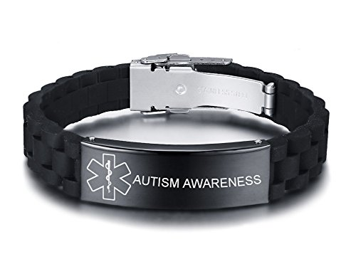 VNOX Personalized Custom Medical Alert Stainless Steel ID Tag Black Silicone Rubber Adjustable Bracelet for Men,Autism Awareness