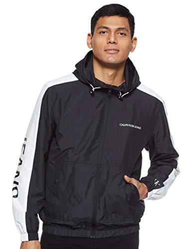 Calvin Klein Jeans Mens STATEMENT LOGO WINDBREAKER Rain Jacket, Ck Black/White, S