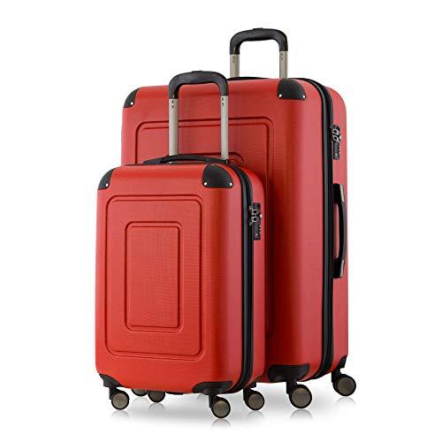 Happy Trolley - 2er Koffer-Set Trolley-Set Rollkoffer Hartschalen-Koffer Reisekoffer Lugano sehr leicht, TSA, (S+XL), Rot