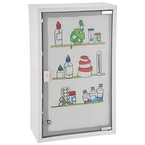 SIDCO Medizinschrank mit Glastür Motiv Hausapotheke XXL Schrank abschließbar 30x50 cm