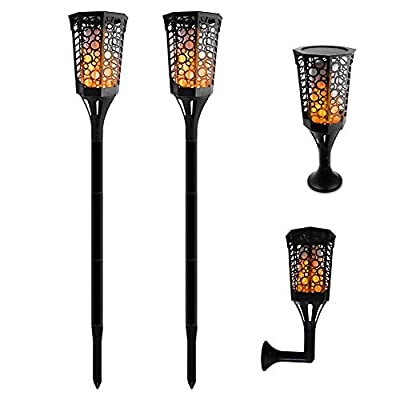 Aluvee Solar Flames Lights Upgraded, Waterproof Flickering Flames Torches Lights Outdoor Solar Spotlights Landscape Decoration Lighting Auto On/Off Security Torch Light for Patio Driveway