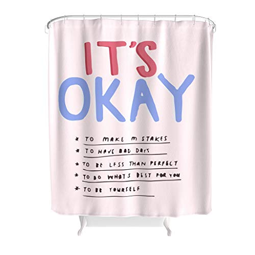 LAOAYI Duschvorhänge Text Grafische Kombination Bedruckt Modern Waschbar Text Vorhang Badewannenvorhang für Badewanne Best Gift for Children White 120x200cm