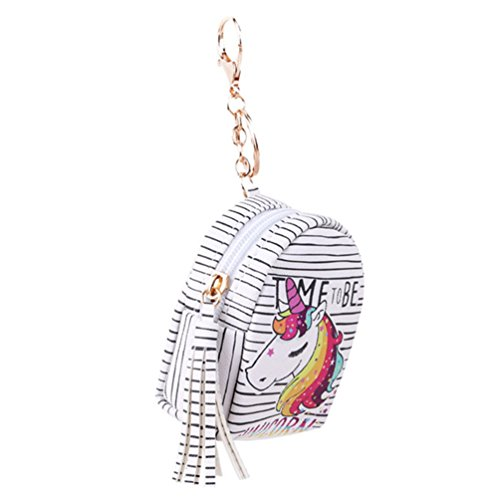 VWH Women PU Unicorn Mini Wallet Card Key Holder Zip Coin Purse Clutch Bags rianbow with letter