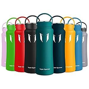 immagine di Super Sparrow Bottiglia, Borraccia in Acciaio Inossidabile, 500 ml / 750 ml / 1 L, Senza BPA, a Prova di Perdite, Bottiglia Termica per Sport, Scuola, Fitness, Outdoor, Campeggio