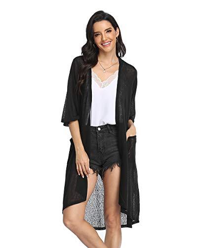 CARCOS Kimono Cardigan Damen Lang, Strandkleid Damen Lang Sommer Cardigan mit Taschen Boho Bikini Cover Up, S~XXL