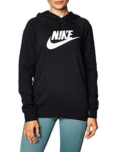Nike Damen W NSW ESSNTL Hoodie PO HBR Sweatshirt, Black/(White), M