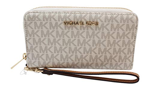"Michael Kors Womens 7"" wide 4"" high 1"" Width 6 Card Holders Plus 1 ID Window Interior Details: One Zip Coin Pocket, One Cell Phone Pocket, One Open Pocket Compatible with iPhone 4,5,6,7, 7S,8, 8S and Samsung Galaxy"