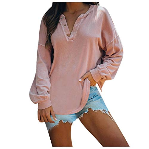 (BATKKM Women's Fashion Long Sleeve Button Pure Color T Shirts Loose Casual Crewneck Pullover Jumper TopsPink,X-Large)