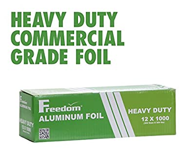 Heavy Duty Aluminum Foil Wrap, Commercial Grade 1000ft Foil Wrap for Food Service Industry, Strong Silver foil, 12 inches by 1000 Feet