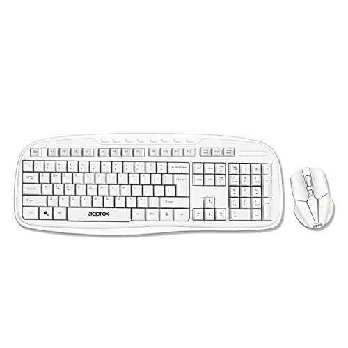 Approx APPKBWSOFFICW - Teclado Wireless Multimedia, Color Blanco