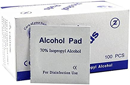 Alcohol Swabs Pads, Disposable Alcohol Pads Antiseptic For Daily Preps Wipes, 100pcs/Box Sterilization 70% Isopropyl (1 BOX)