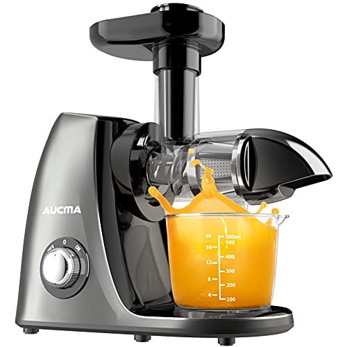 Aucma Cold Press Juicer Extractor for Soft and Hard Fruits and Vegetables,Slow Masticating Juicer Easy to Clean, Masticating Juicer with Quiet Motor,Slow Juicer with Reverse Function,BPA-Free Gray