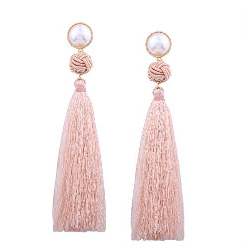Personalidad de la moda Elementos tradicionales chinos, nudo chino oreja borla pendientes largos, retro temperamento salvaje nuevos pendientes de color rosa claro