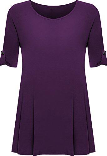 PaperMoon - Damen Übergröße Rundhalsausschnitt Kurzarm Ausgestelltem Lange Top - Violett - 54-56 /26-28