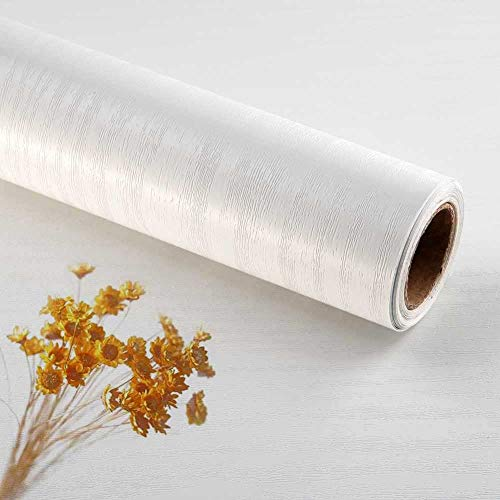 White Wood Contact Paper Self Adhesive Waterproof Wallpaper Decorative Vinyl Film for Furniture Real Wood Tactile Sensation Surfaces Easy to Clean 15.7' x 118.1'
