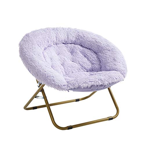 Urban Shop Oversized Mongolian Faux Fur Saucer Chair, Lavender with Gold Legs