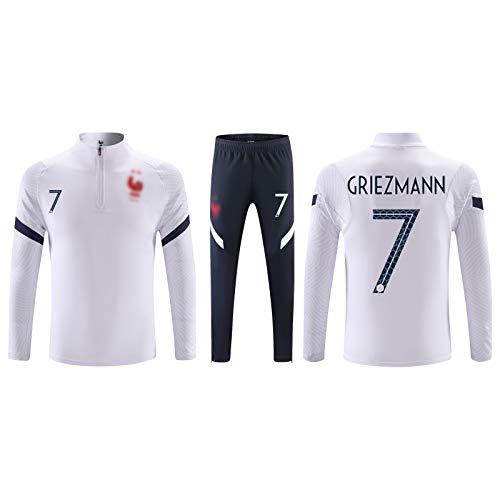 Zwirelz Garçon Ensemble de T-Shirt et Short Maillot de Football France 2 Étoiles Soccer Jersey Manche Courte pour Enfant Vêtements de Football pour Garçon- T-Shirt et Short
