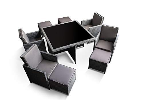 Ragnarök-Möbeldesign PolyRattan – DEUTSCHE Marke – EIGNENE Produktion – 8 Jahre GARANTIE auf UV-Beständigkeit Gartenmöbel Essgruppe Tisch + 4 Stuhl 4 Hocker 12 Polster Platinumsilber Grau - 6
