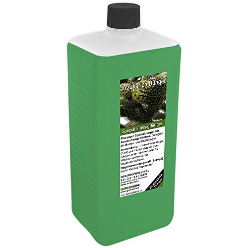 GREEN24 Araukarien-Dünger XL 1 Liter, Pflanzen Dünger für Araucaria Andentanne Araukarie Schmucktanne