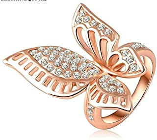 butterfly shap gold plated ring for women size 7