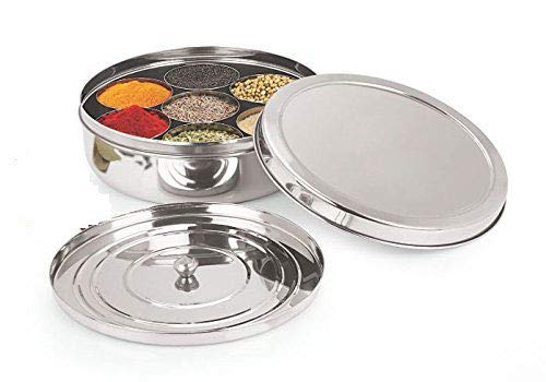 Spice Container - Masala Dabba - 7 Compartments, masala box,steel masala dabba,Spice container box,stainless steel spice box indian masala dabba with 7 spice containers with size 8 X 8 inches