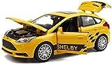 HYLH Fundición a presión a Escala 1/32 Ford Focus ST Modelo de Coche Simulación Aleación Juguetes para niños Adornos de decoración Joyas - 14.5x5.5x5cm (Color: Amarillo)