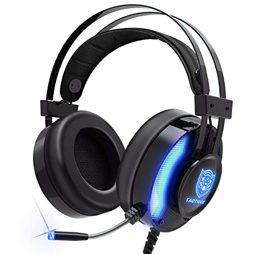 PS4 Gaming Headset, Taotique 7.1 Surround Sound Game Headset for Xbox One Noise Cancelling Gaming Headphones with Mic, Ergonomic Soft Earmuffs and LED Light for PC, Laptop - Blue