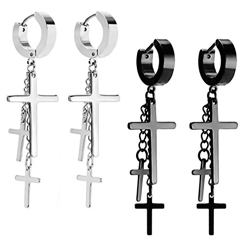 2 Pairs of Women Girls Cross Tassel Stainless Steel Earrings. Ideal for Madonna and Cyndi Lauper Costume